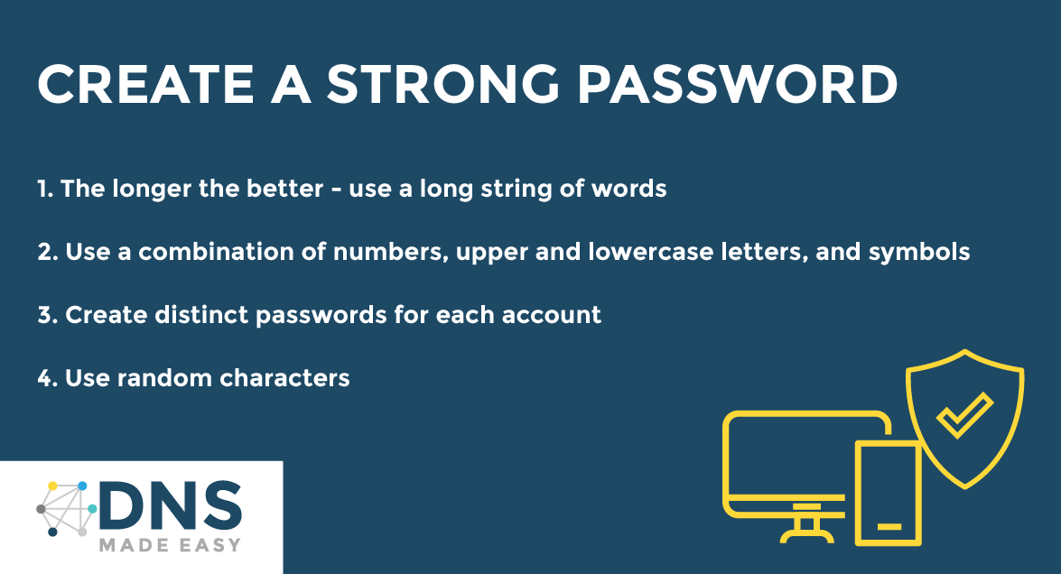 What are the benefits of 2FA? List of benefits of 2 Factor Authentication. Infographic. Strong password suggestions